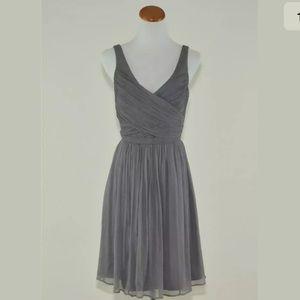 J Crew $250 Silk Chiffon Heidi Dress Graphite gray